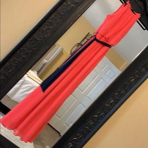 Coral dress with blue sash